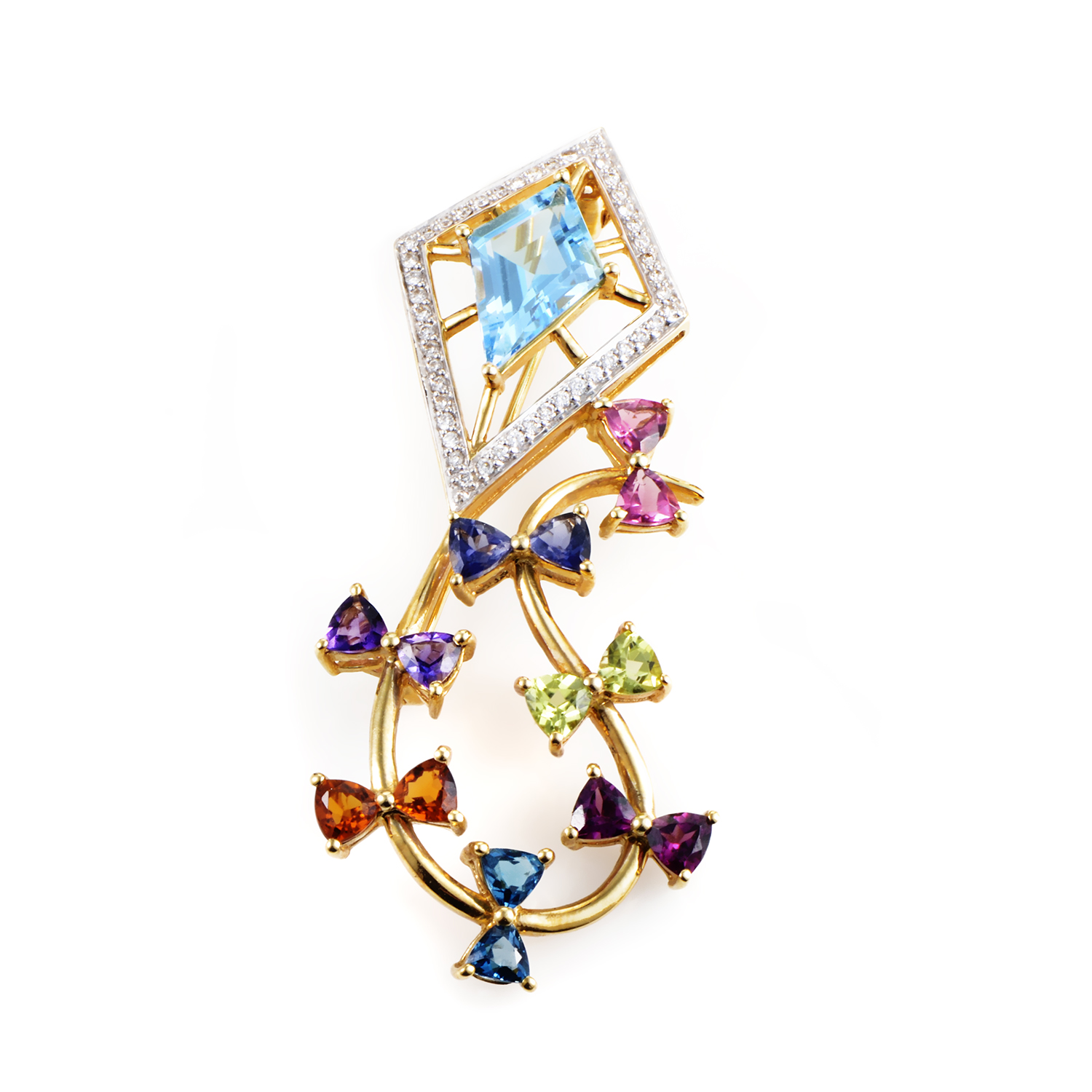 18K Yellow Gold Multi-Gemstone & Diamond Kite Brooch C-33-021016