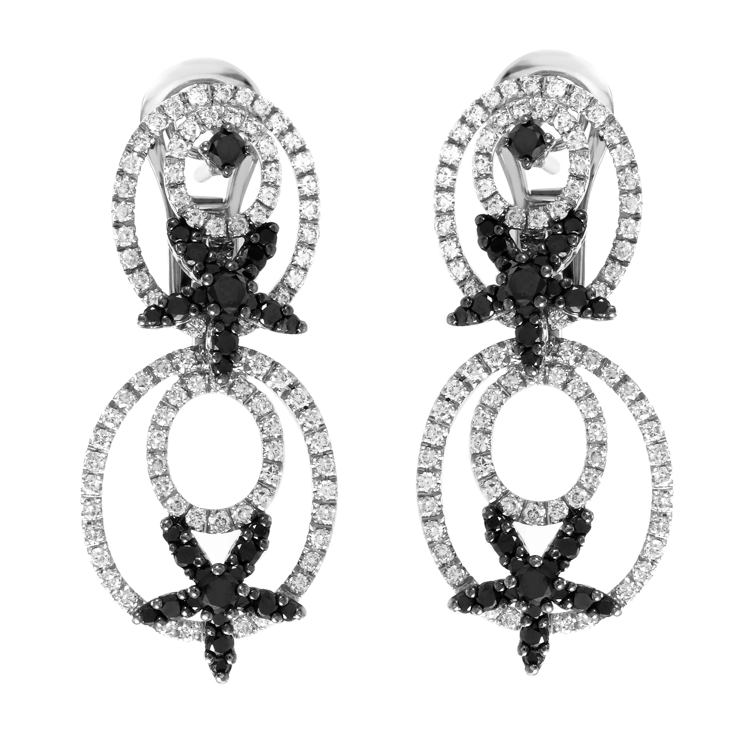 18K White Gold Black & White Diamond Dangle Earrings DE-5