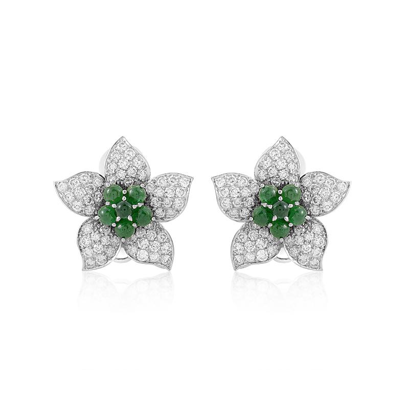 18K White Gold Emerald & Diamond Pave Flower Earrings