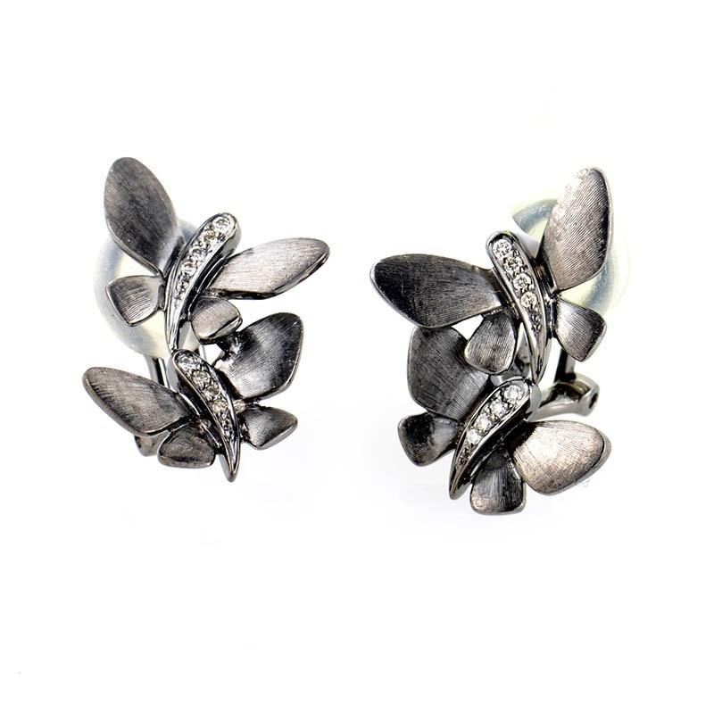 18K White Gold Diamond Butterfly Earrings