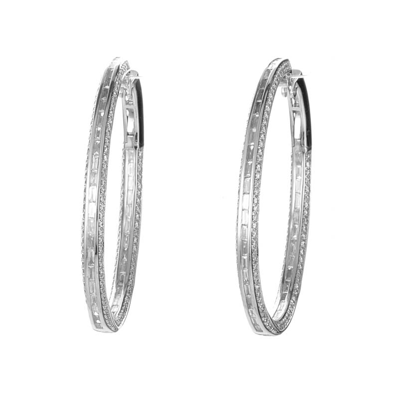 Large 18K White Gold Diamond Hoop Earrings