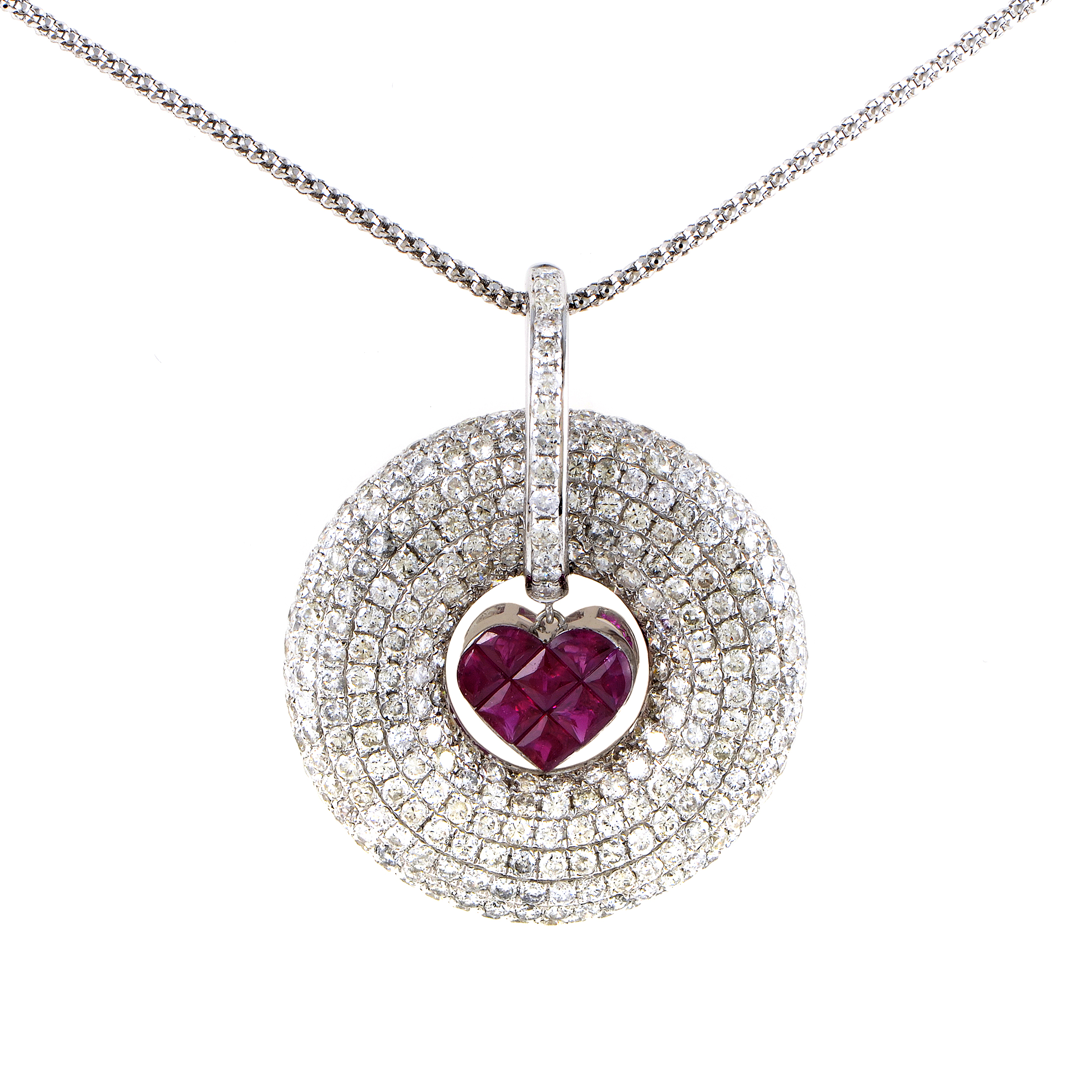 Women's 18K White Gold Diamond Pave & Ruby Heart Pendant Necklace