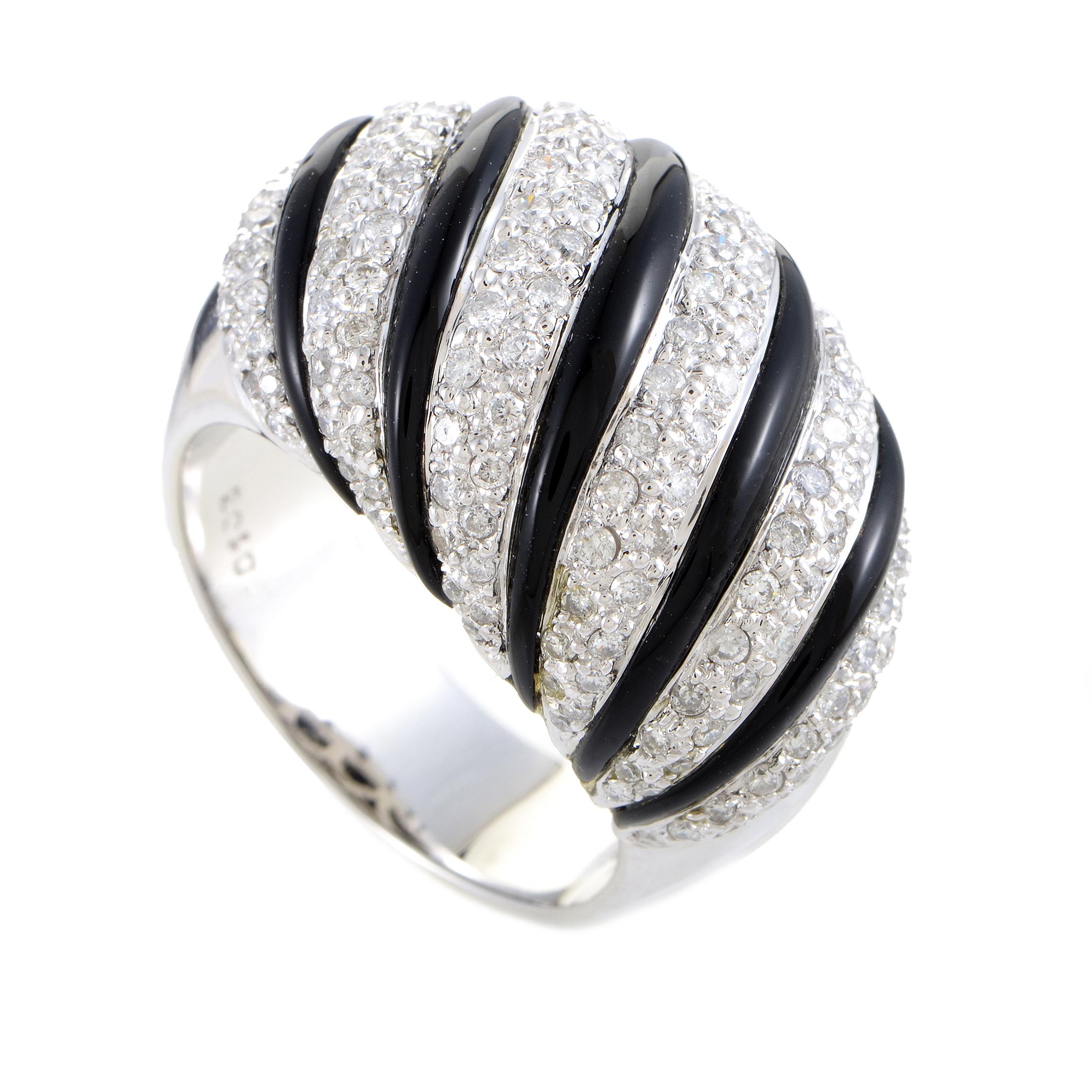 Women's 18K White Gold Diamond Pave & Onyx Bombe Ring