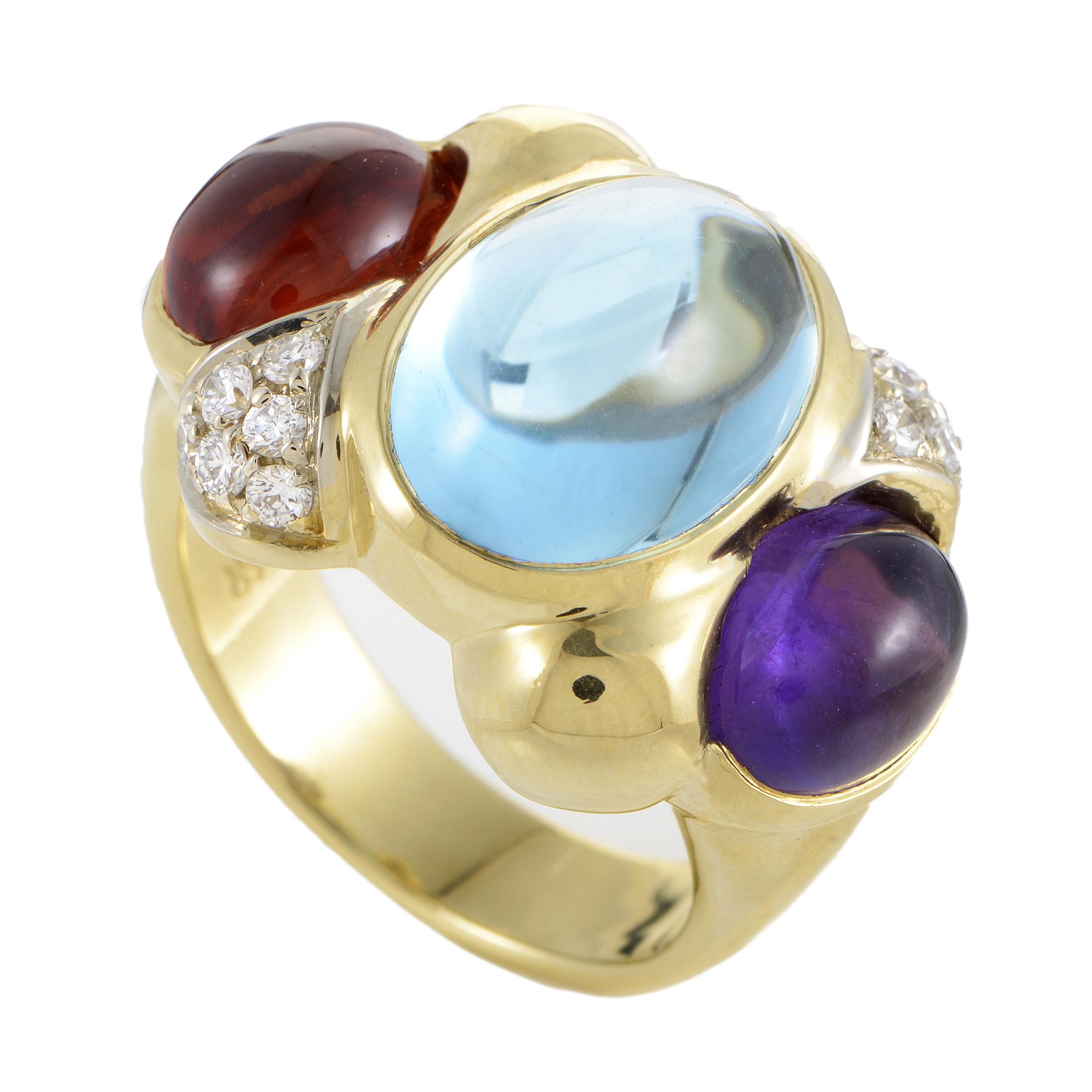 Women's 18K Yellow Gold Diamond & Multi-Gemstone Band Ring
