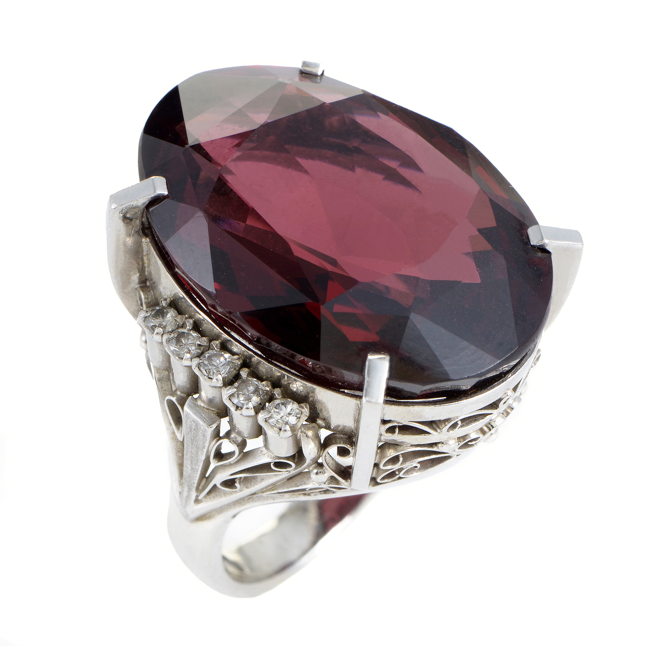 Womens Platinum Diamond and Pink Tourmaline Cocktail Ring