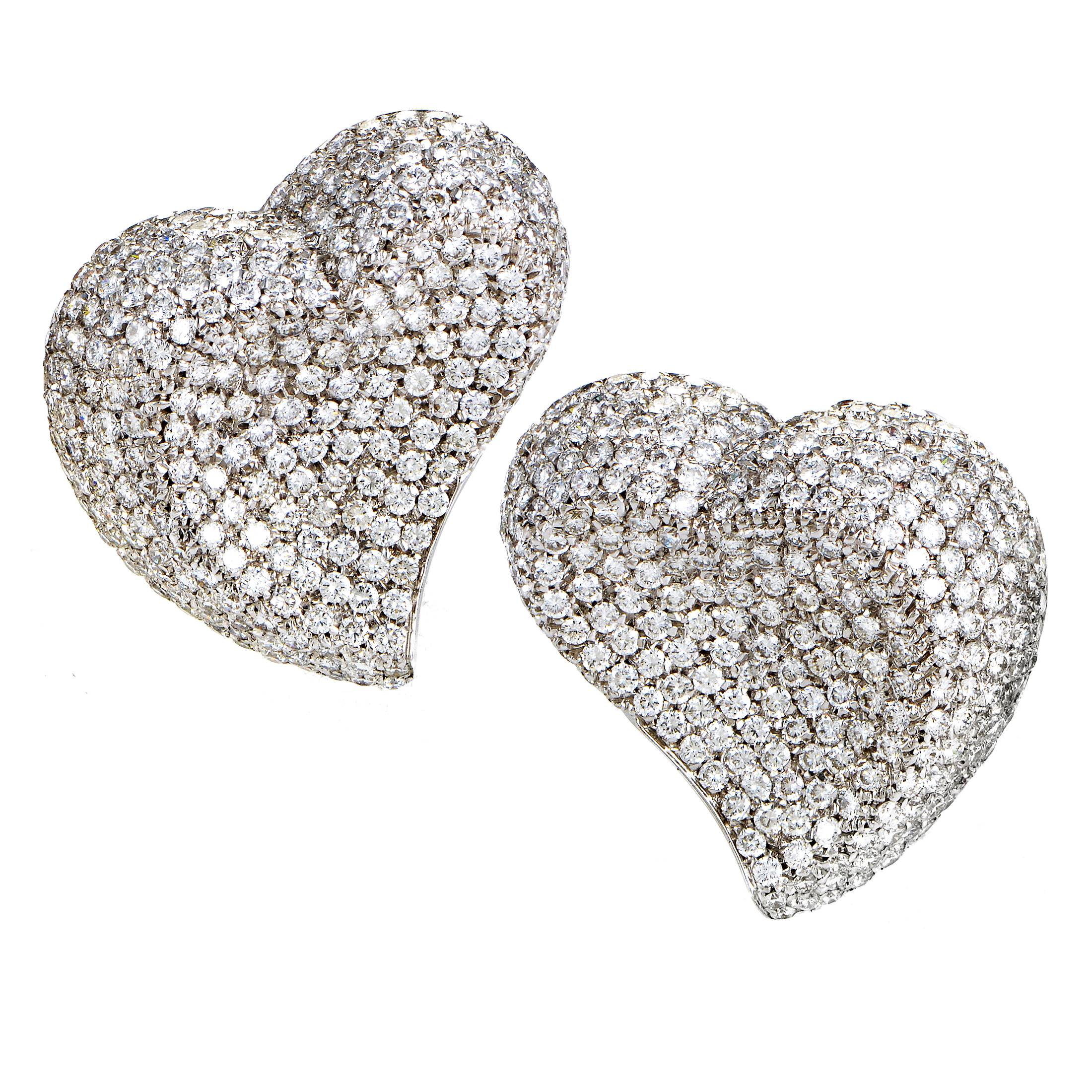 Women's 18K White Gold Diamond Micro Pave Clip-on Heart Earrings