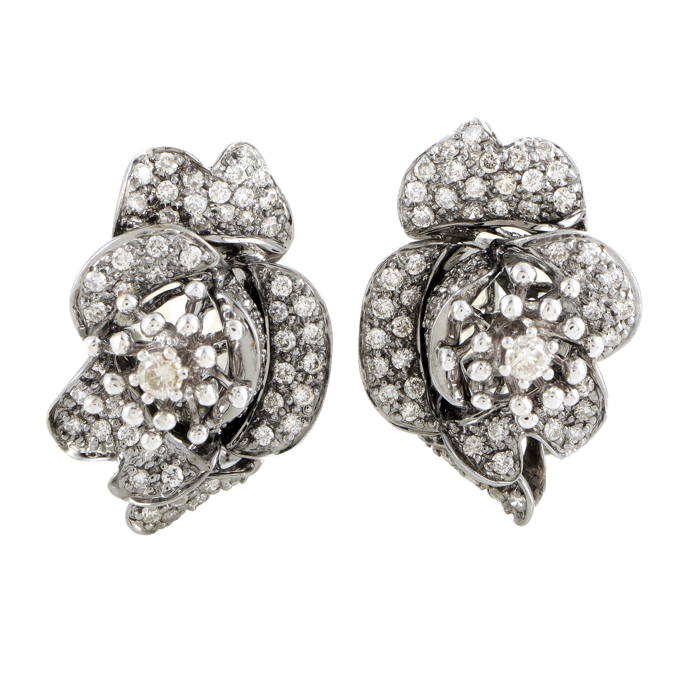 Women's 18K White Gold Diamond Pave Flower Earrings