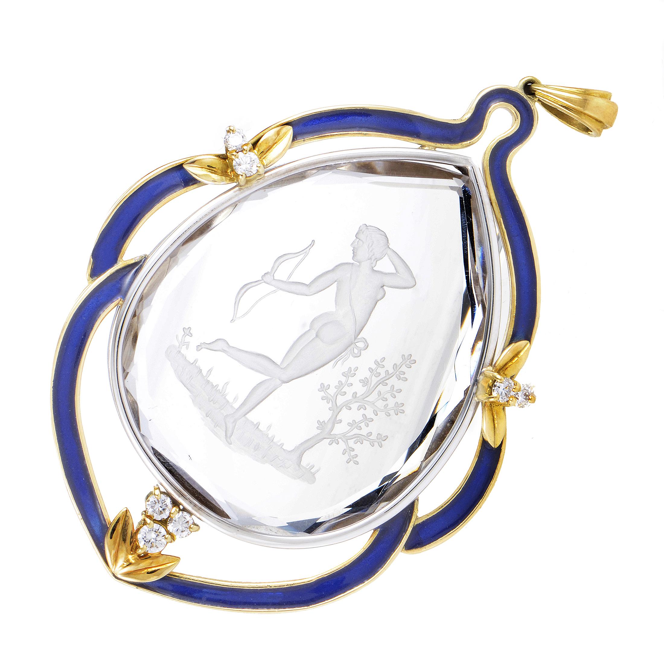 Women's 18K Multi-Tone Gold Diamond & Crystal Enameled Pendant