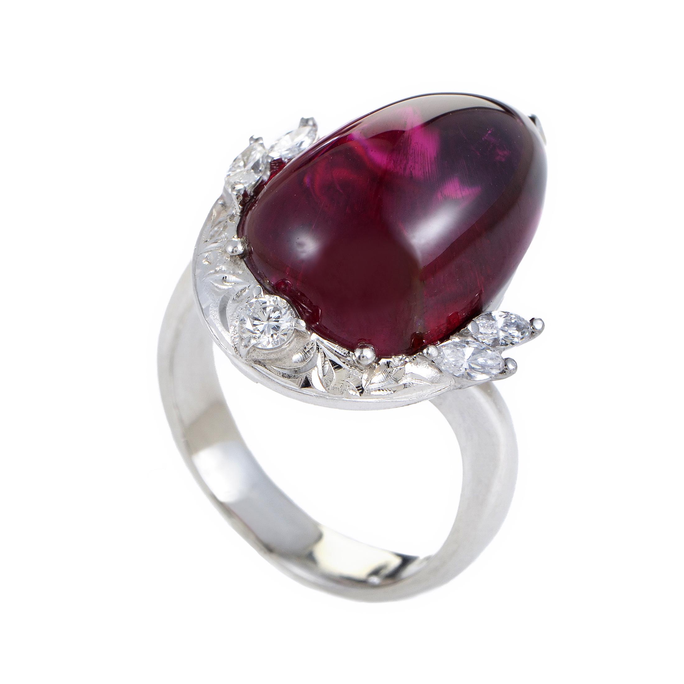 Women's Platinum Diamond & Pink Tourmaline Cabochon Ring