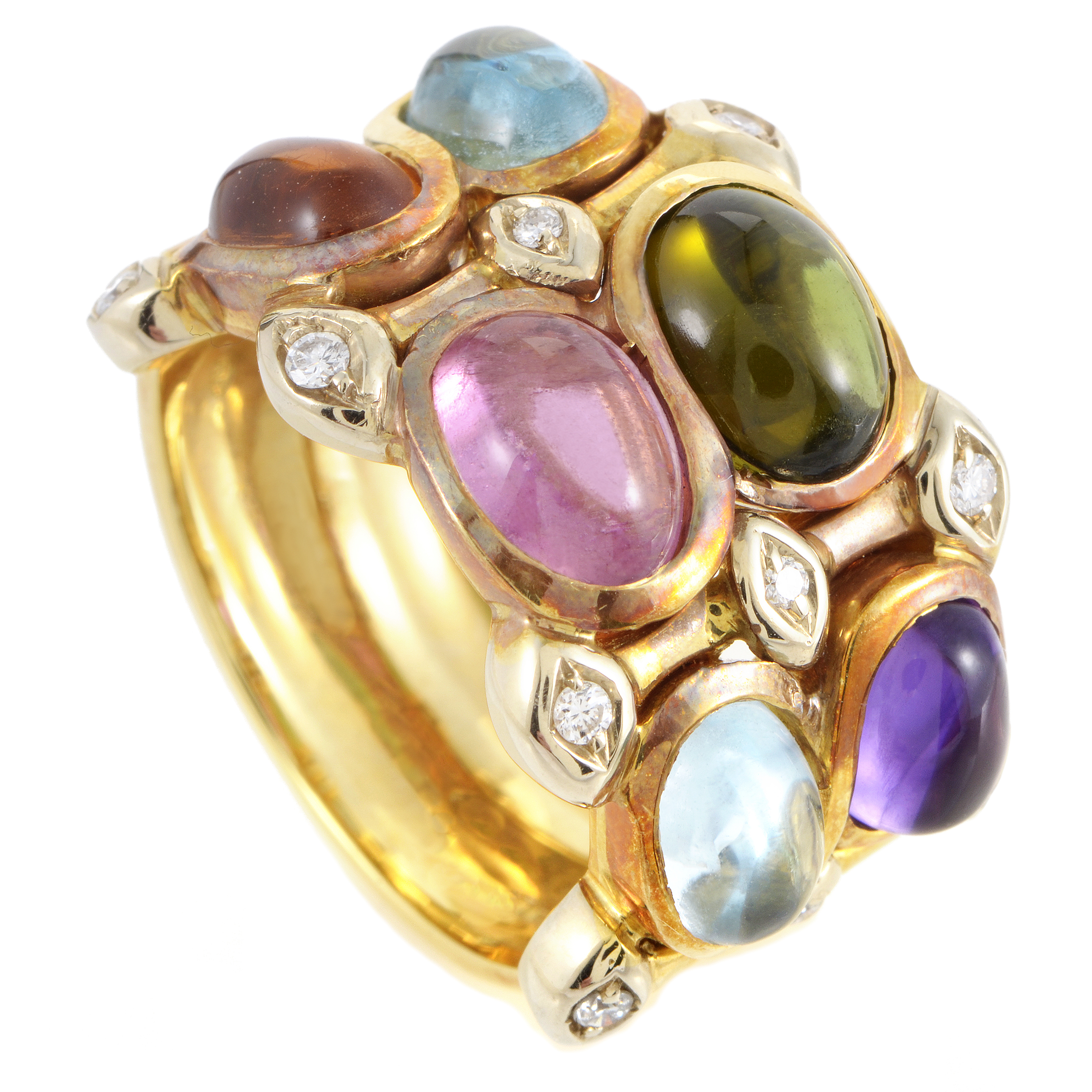 Women's 18K Yellow Gold Diamond & Gemstone Cabochons Band Ring