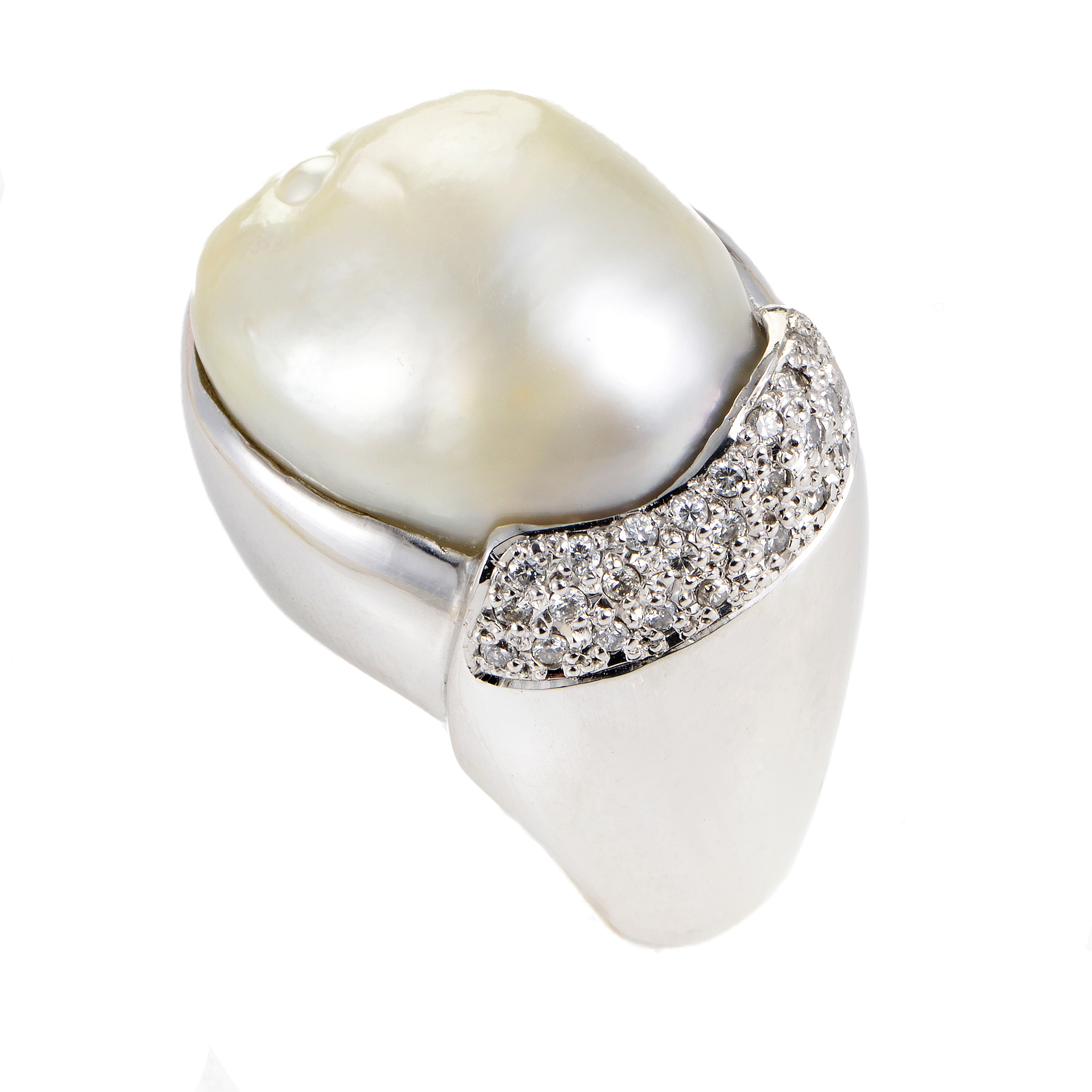 Women's Platinum Diamond & Mabe Pearl Cocktail Ring