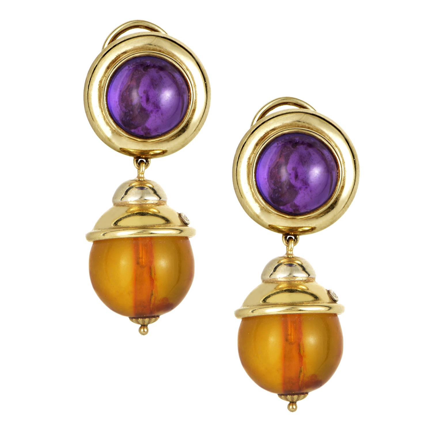 18K Yellow Gold Amethyst & Garnet Earrings BB0105066AF