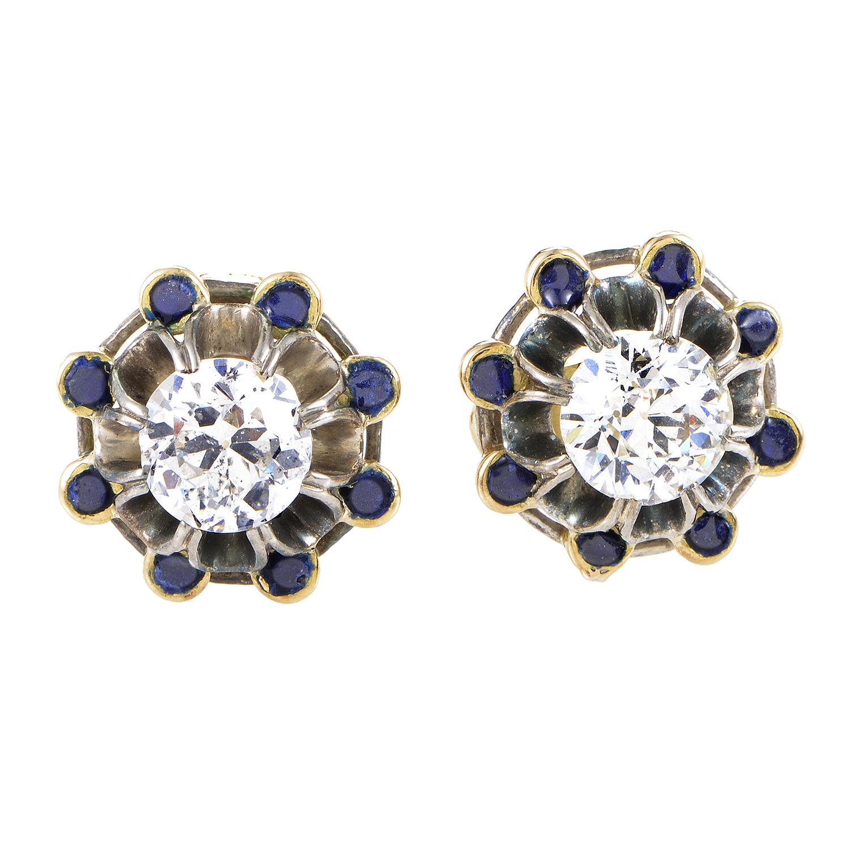 Antique Enameled 18K Yellow Gold & Silver Diamond Stud Earrings