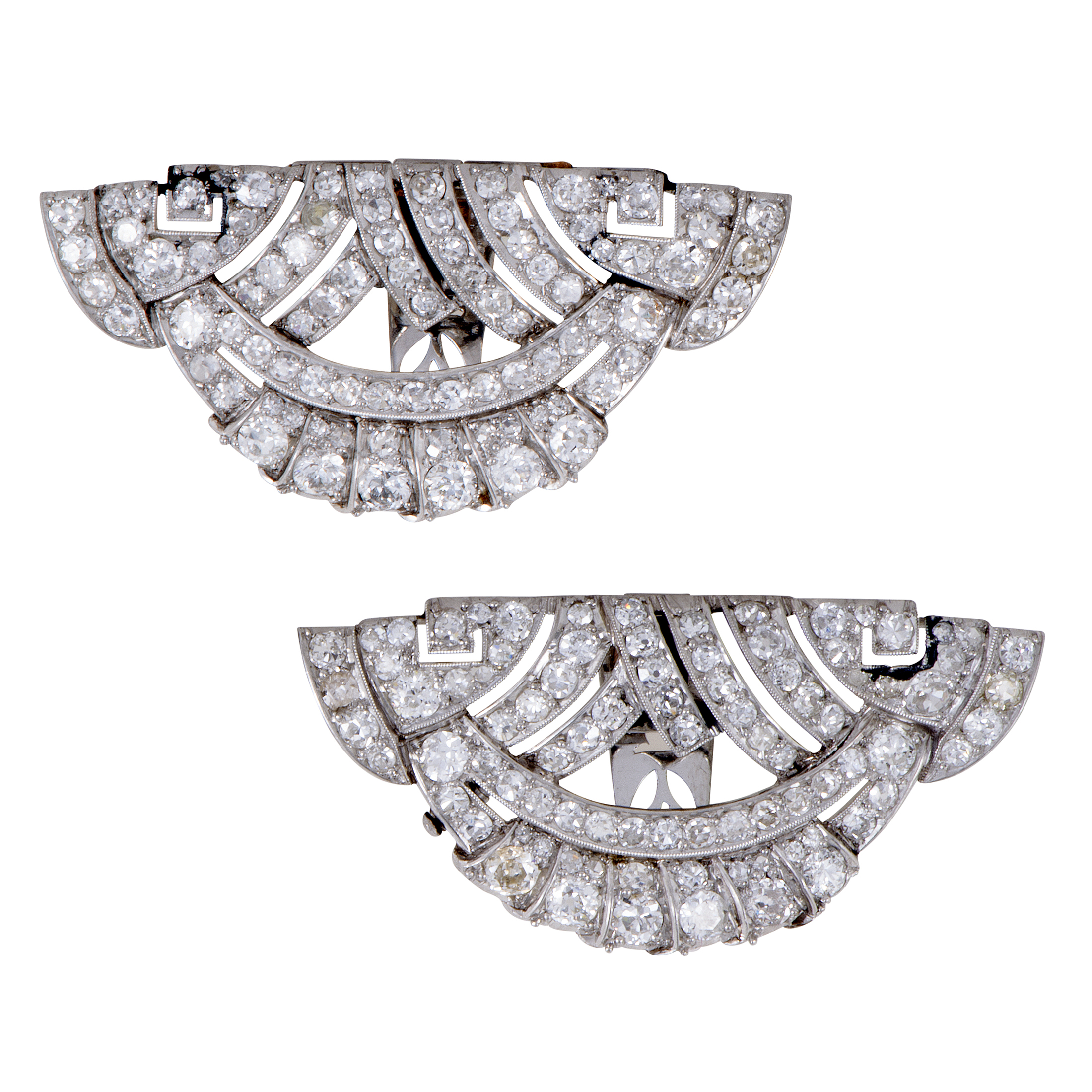 Antique Platinum Full Diamond Large Fan Clips