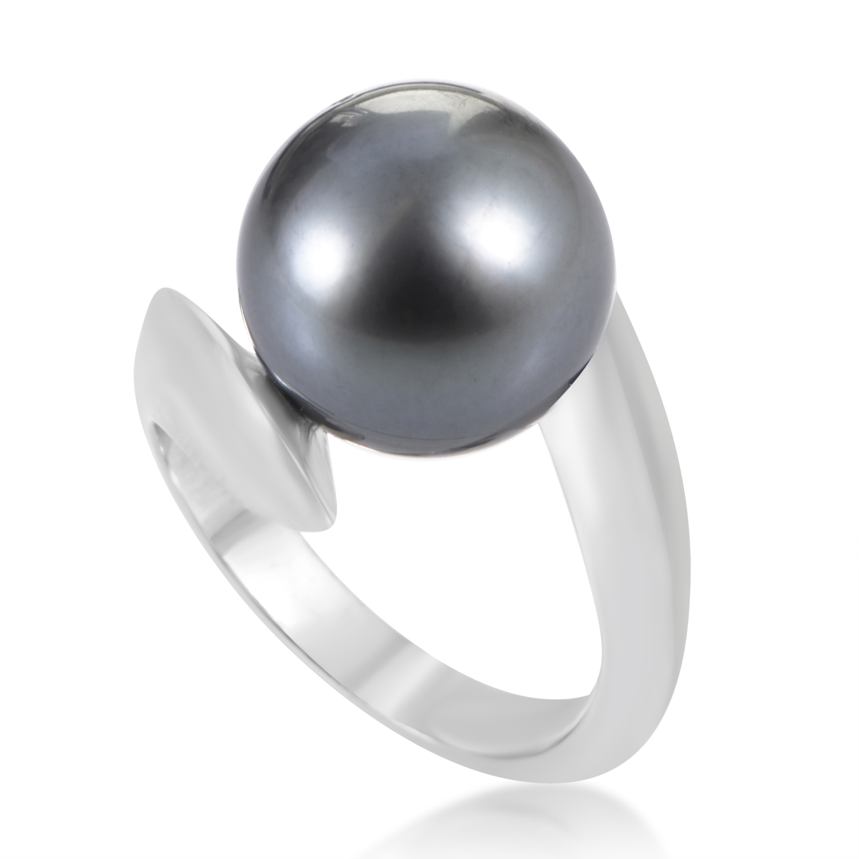 Women's 18K White Gold Gray Tahitian Pearl Ring