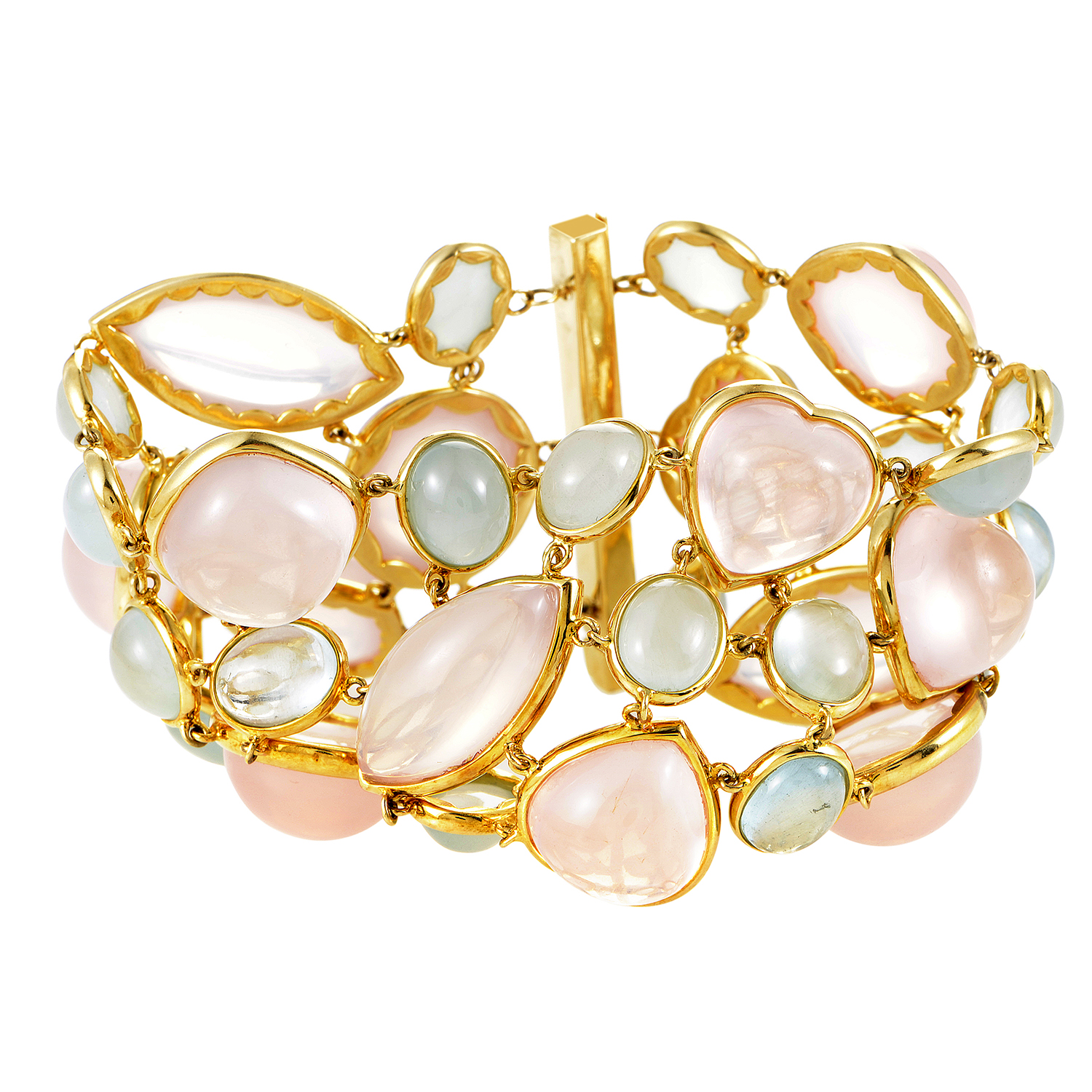 Women's 18K Yellow Gold Rose Quartz & Blue Tourmaline Bracelet
