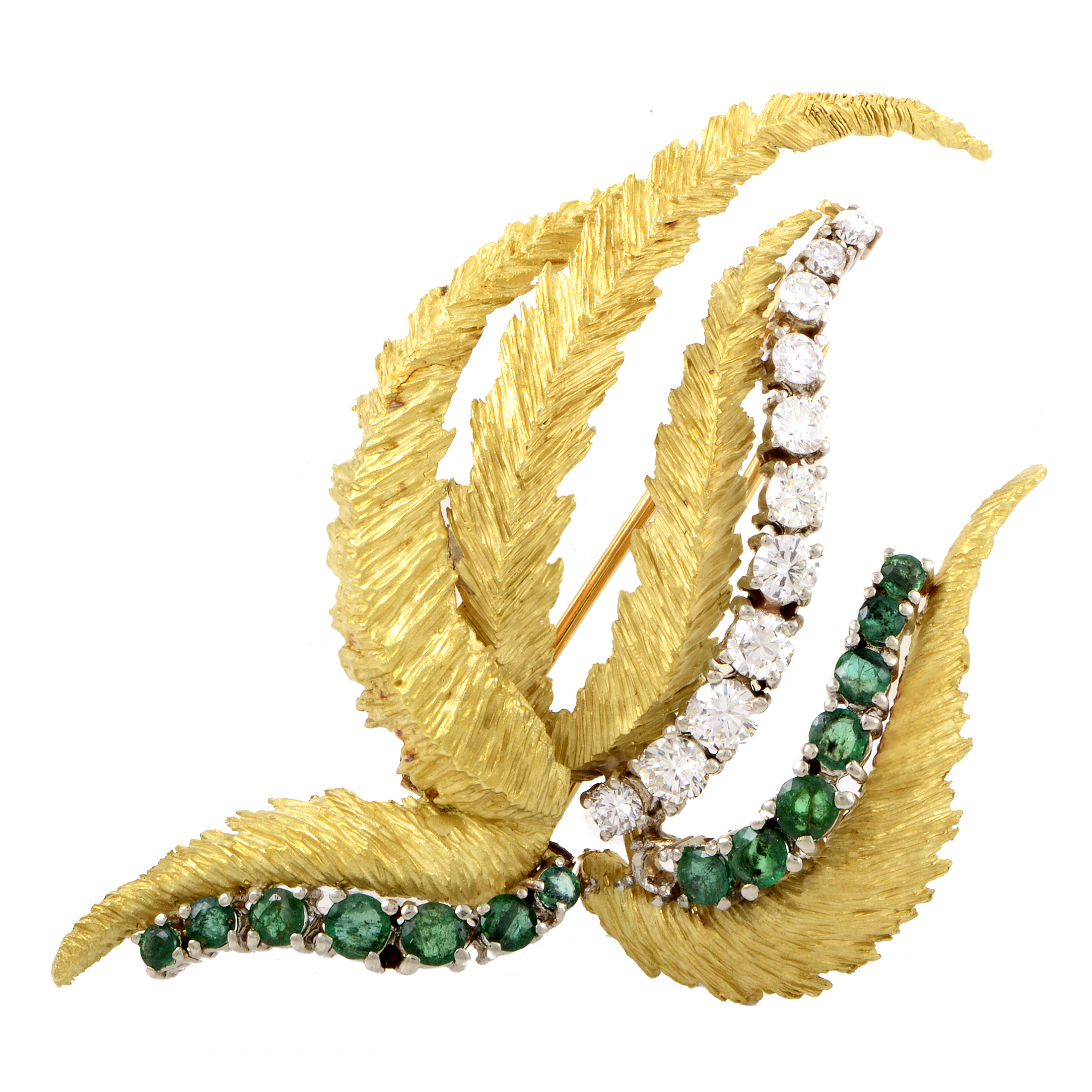 Women's 18K Multi-Tone Gold Diamond & Emerald Brooch