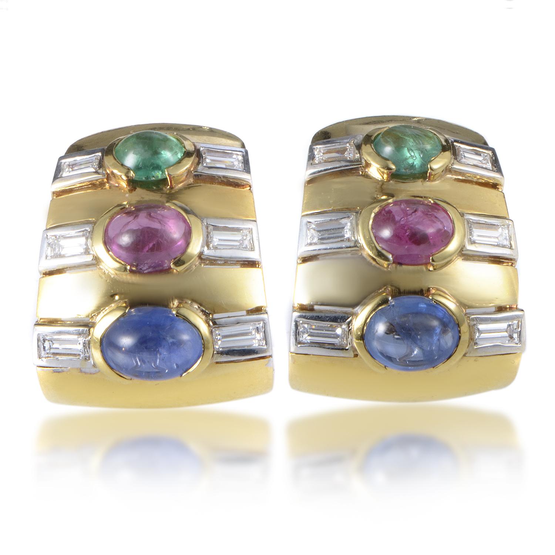 18K Multi-Tone Gold Precious Gemstone Clip-on Earrings