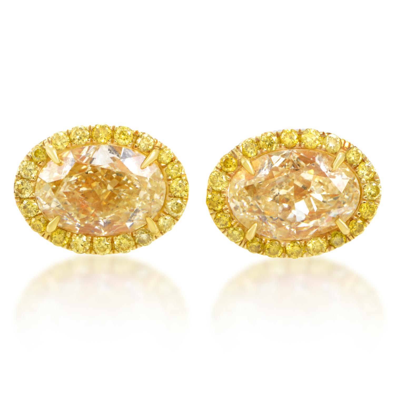 Women's 18K Yellow Gold Yellow Diamond Stud Earrings MFC01-071216