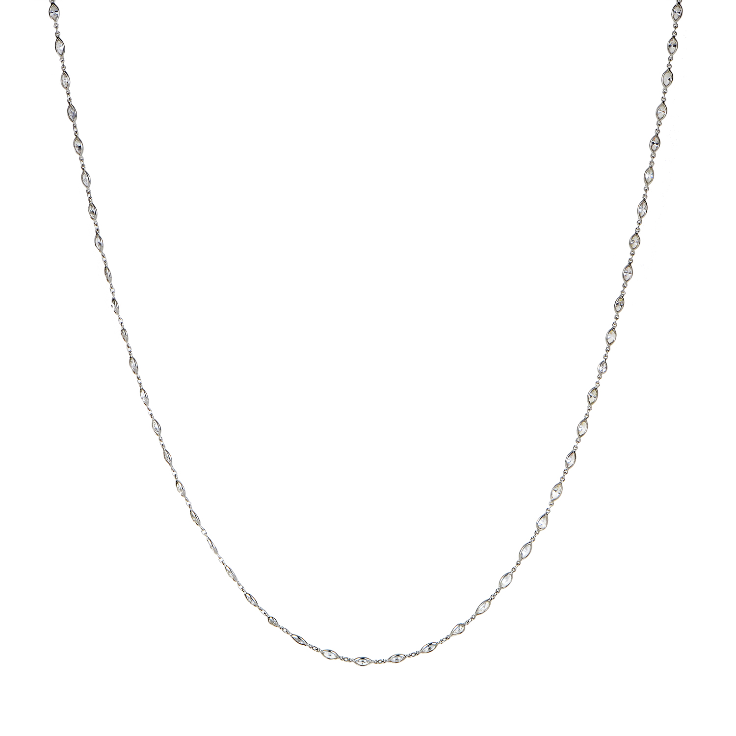 Women's Platinum Marquise Diamond Long Strand Necklace MFC01-092116