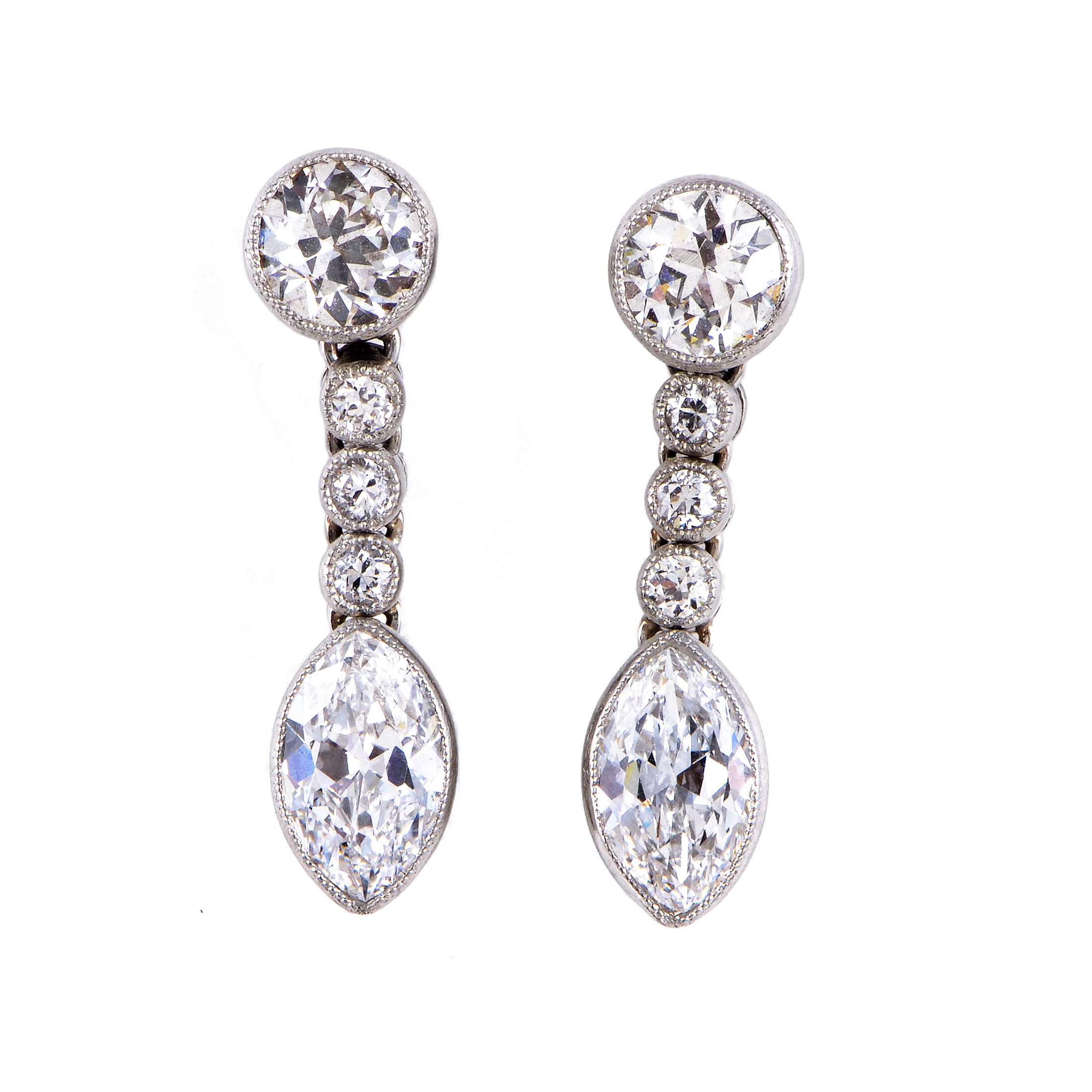 Women's Antique Platinum & 14K Yellow Gold Diamond Dangle Earrings