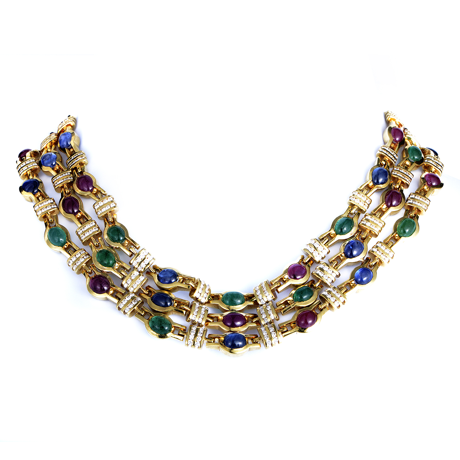 Women's 18K Yellow Gold Precious Gemstone Necklace