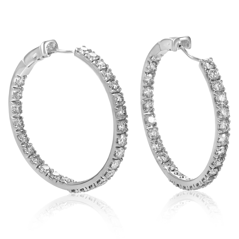 Women's 18K White Gold Diamond Pave Hoop Earrings SN0107239AA