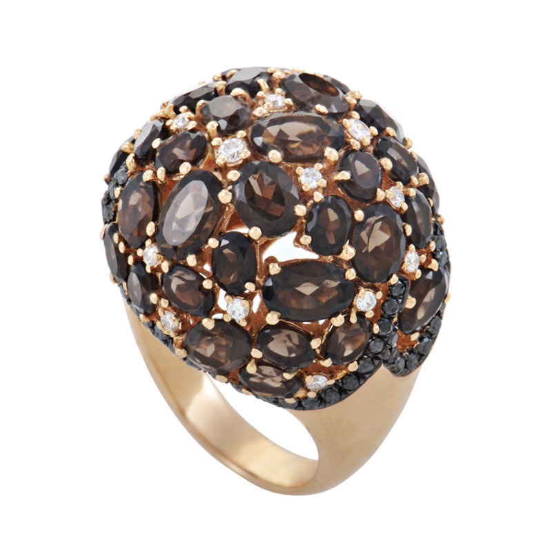 18K Rose Gold Smokey Topaz & Diamond Dome Ring HF03208R-R-ST