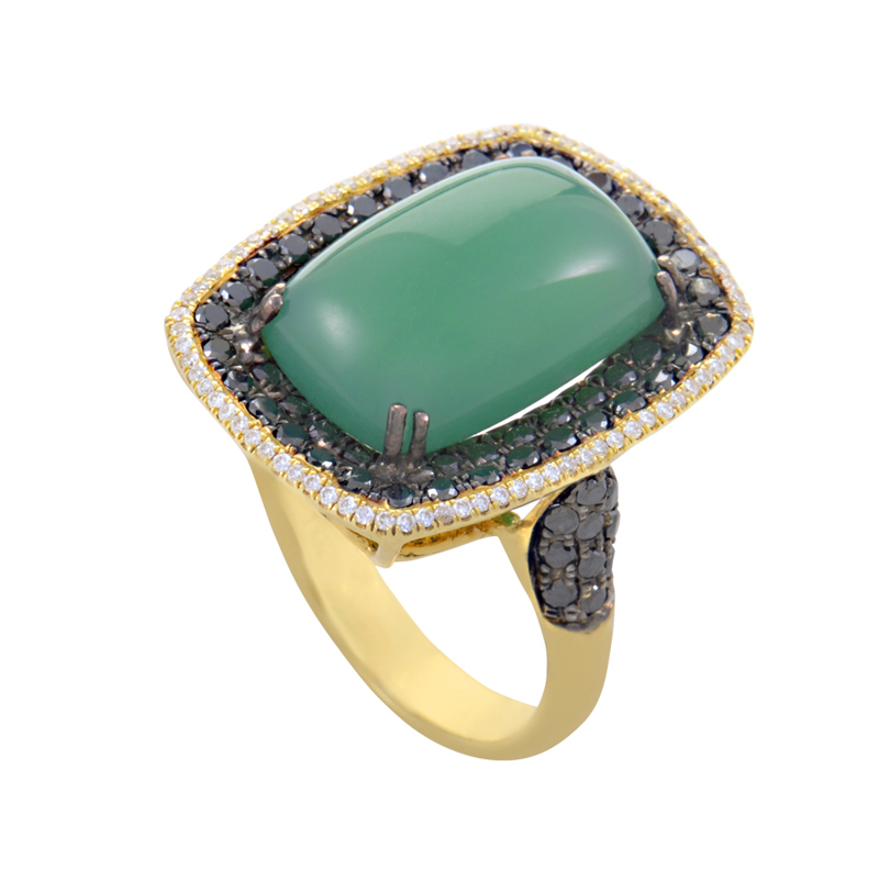 18K Yellow Gold Green Agate & Multi-Diamond Ring HF03906RS-Y-GA