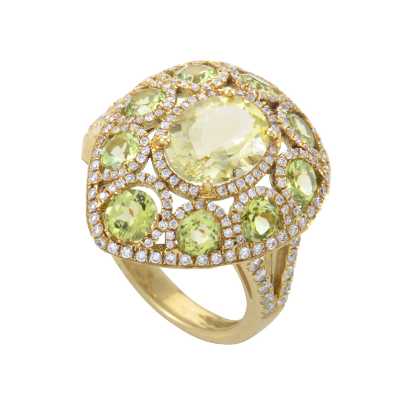 18K Yellow Gold Peridot & Diamond Ring HF04061R-Y-P