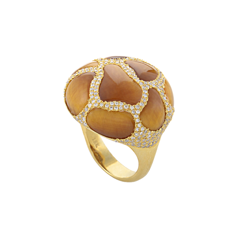 18K Yellow Gold Tiger's Eye Diamond Ring HF04064R-Y-TE