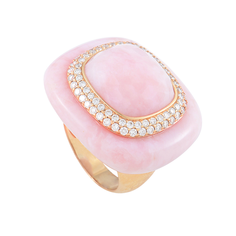 French Collection 18K Rose Gold Pink Quartz Diamond Ring