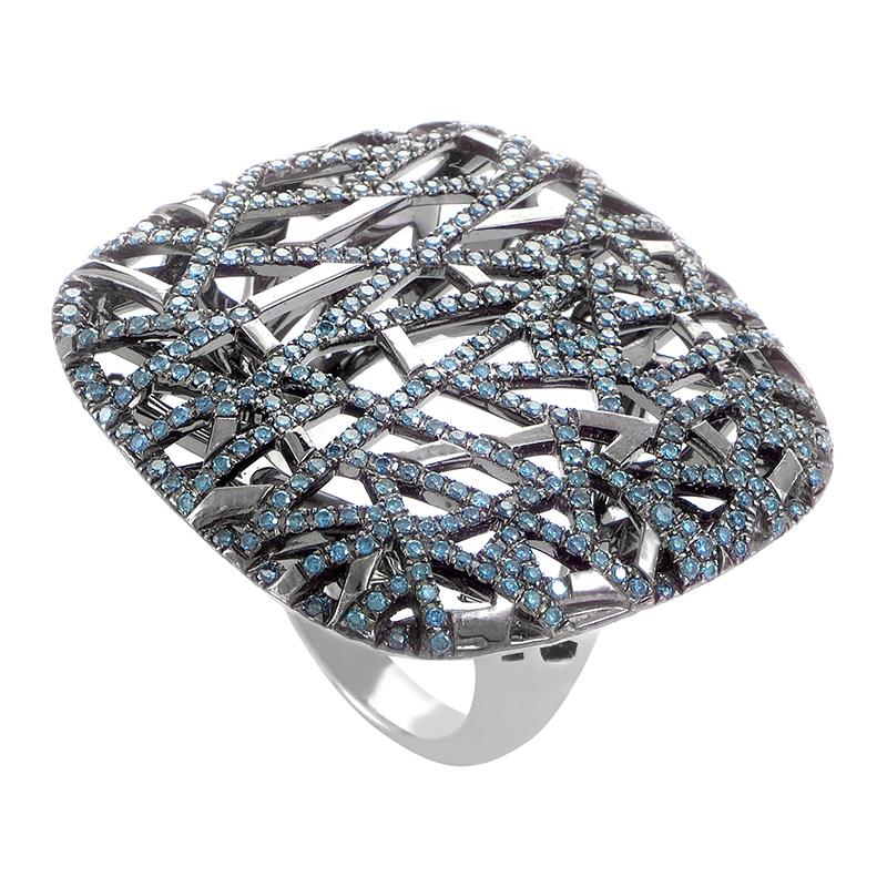 18K White Gold Blue Diamond Cocktail Ring RD8-10104W