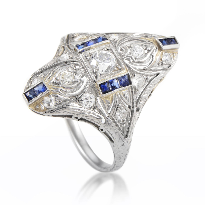 Antique Platinum Diamond & Sapphire Ring