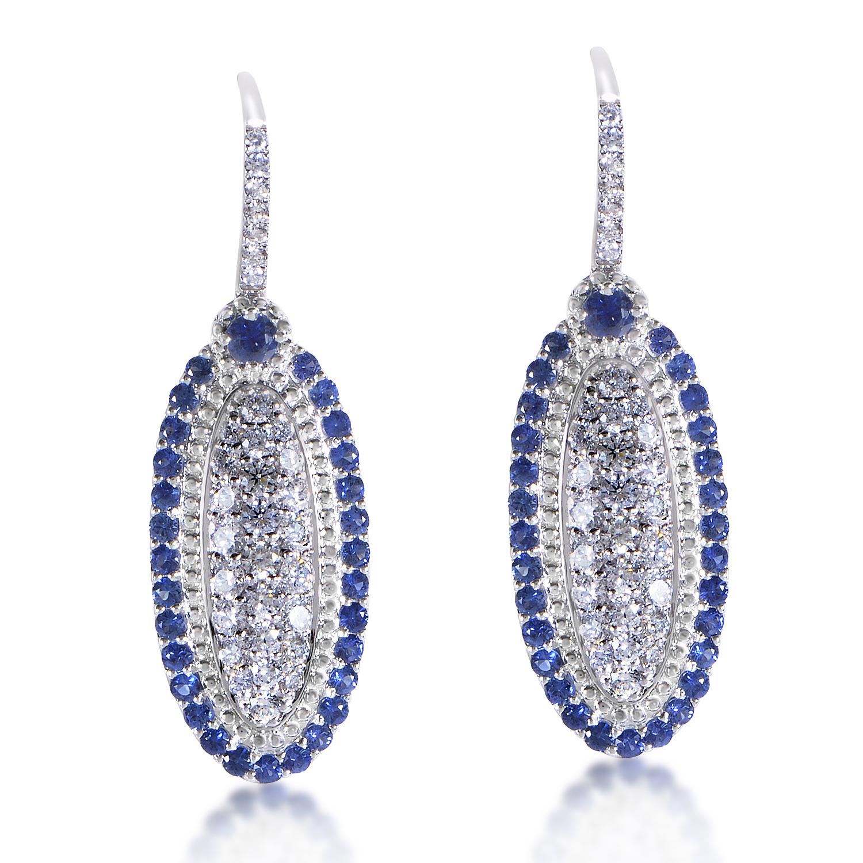 18K White Gold Diamond & Sapphire Dangle Earrings EL8-10061WSA