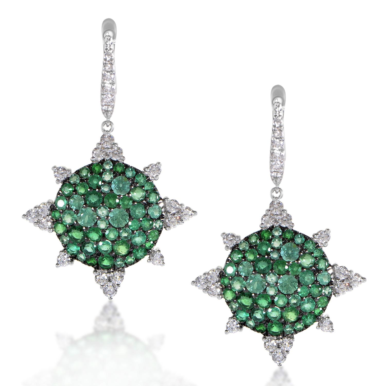 18K White Gold Diamond & Emerald Sunburst Earrings