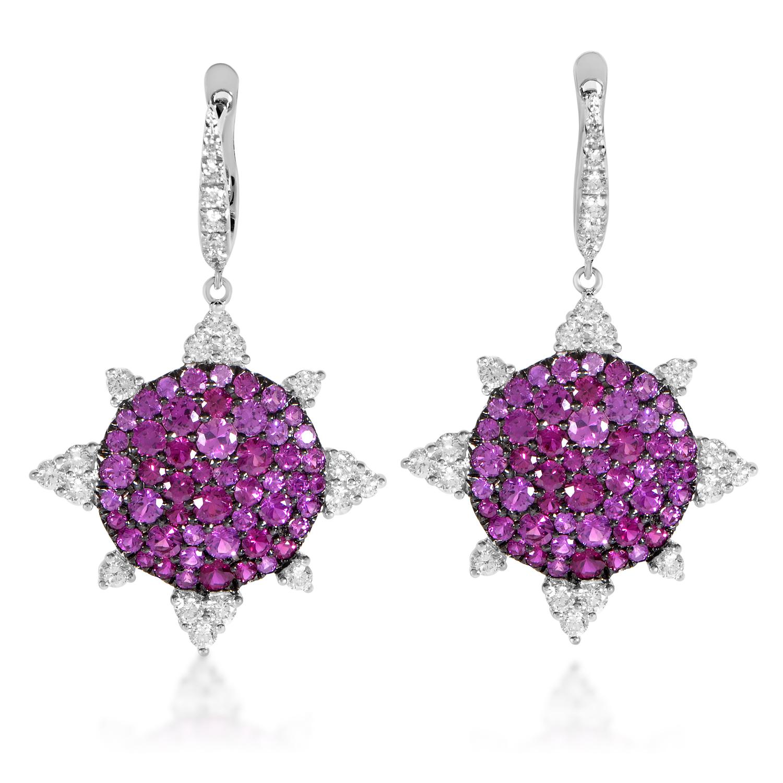 18K White Gold Diamond & Ruby Sunburst Earrings