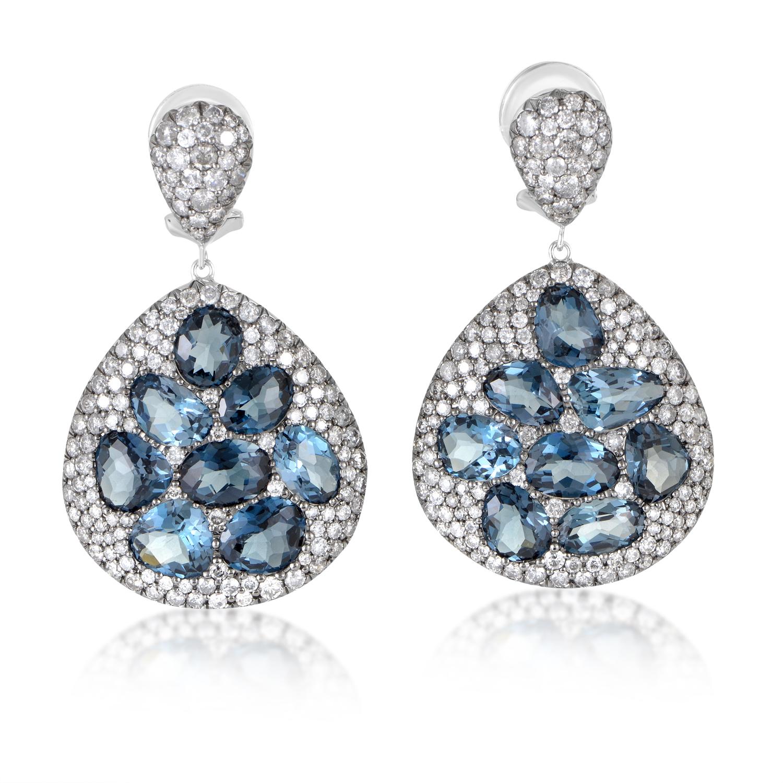 18K White Gold Diamond & Topaz Dangle Earrings EL8-10069WTB
