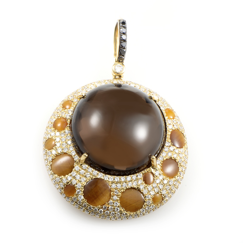 18K Yellow Gold Brown Gemstone & Diamond Pendant HF04123P-YSTTE