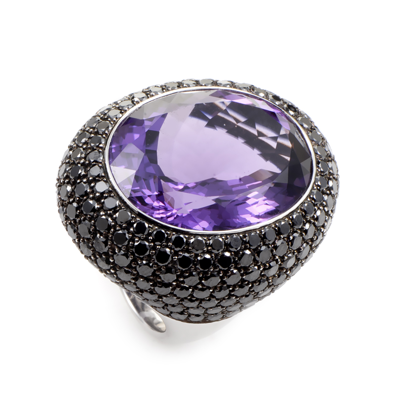 18K White Gold Amethyst & Diamond Cocktail Ring LA8-86372