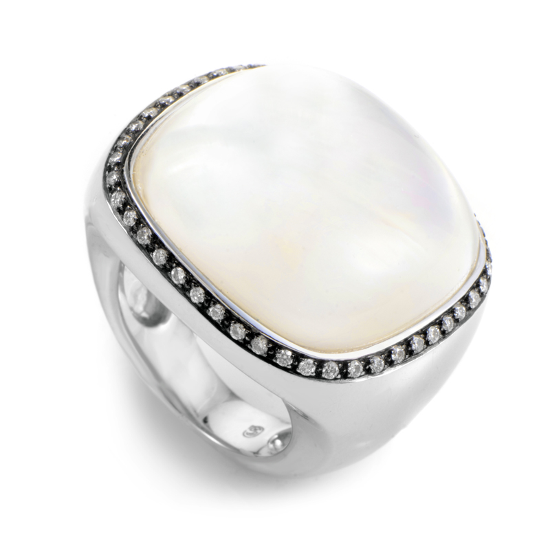 18K White Gold Moonstone & Diamond Ring LM8-053745