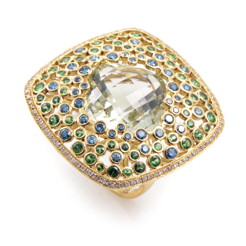 18K Yellow Gold Gemstone Pave Ring RC8-10774YAG