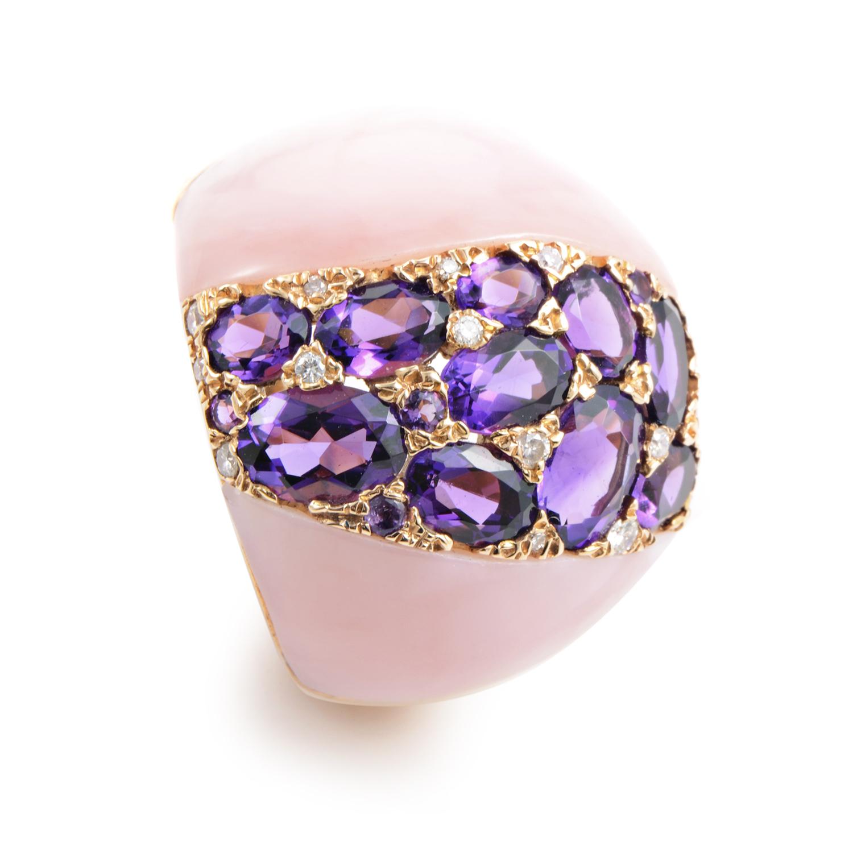 18K Rose Gold Pink Quartz & Diamond Ring RC8-10809RQZP