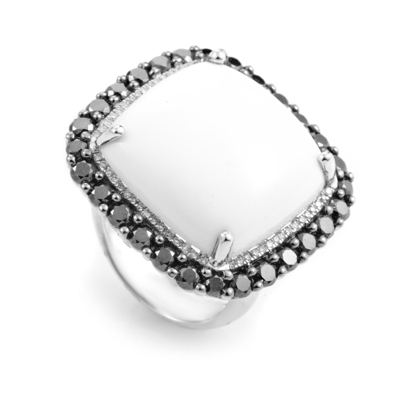 18K White Gold White Agate & Black Diamond Ring RC8-10829WAGW