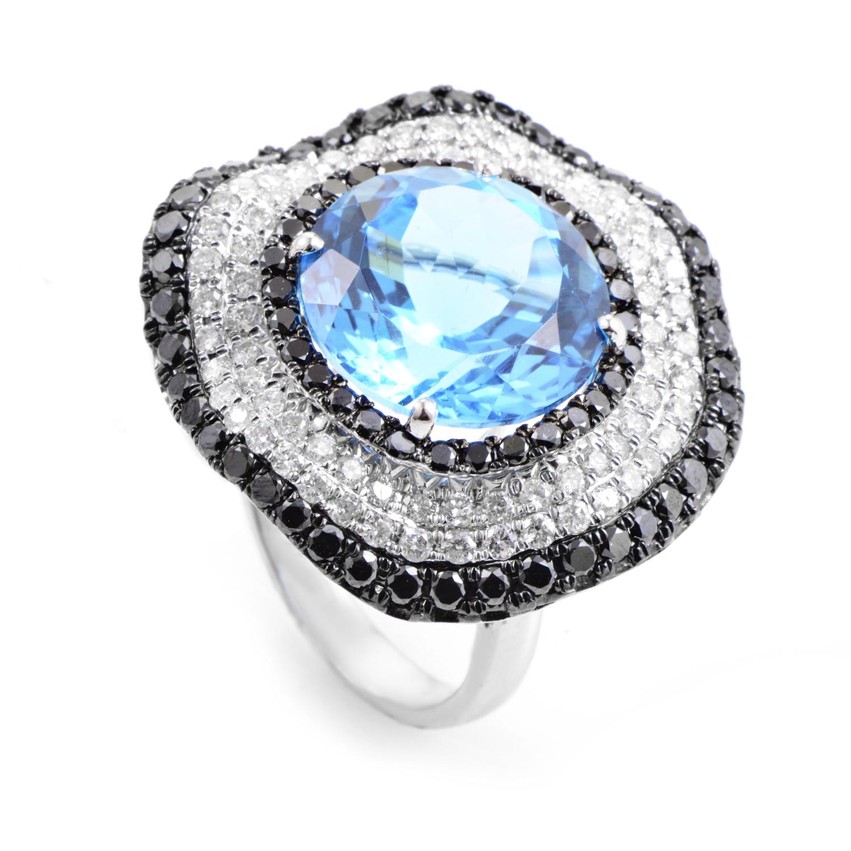 18K White Gold Diamond & Topaz Ring RC8-10860WTB
