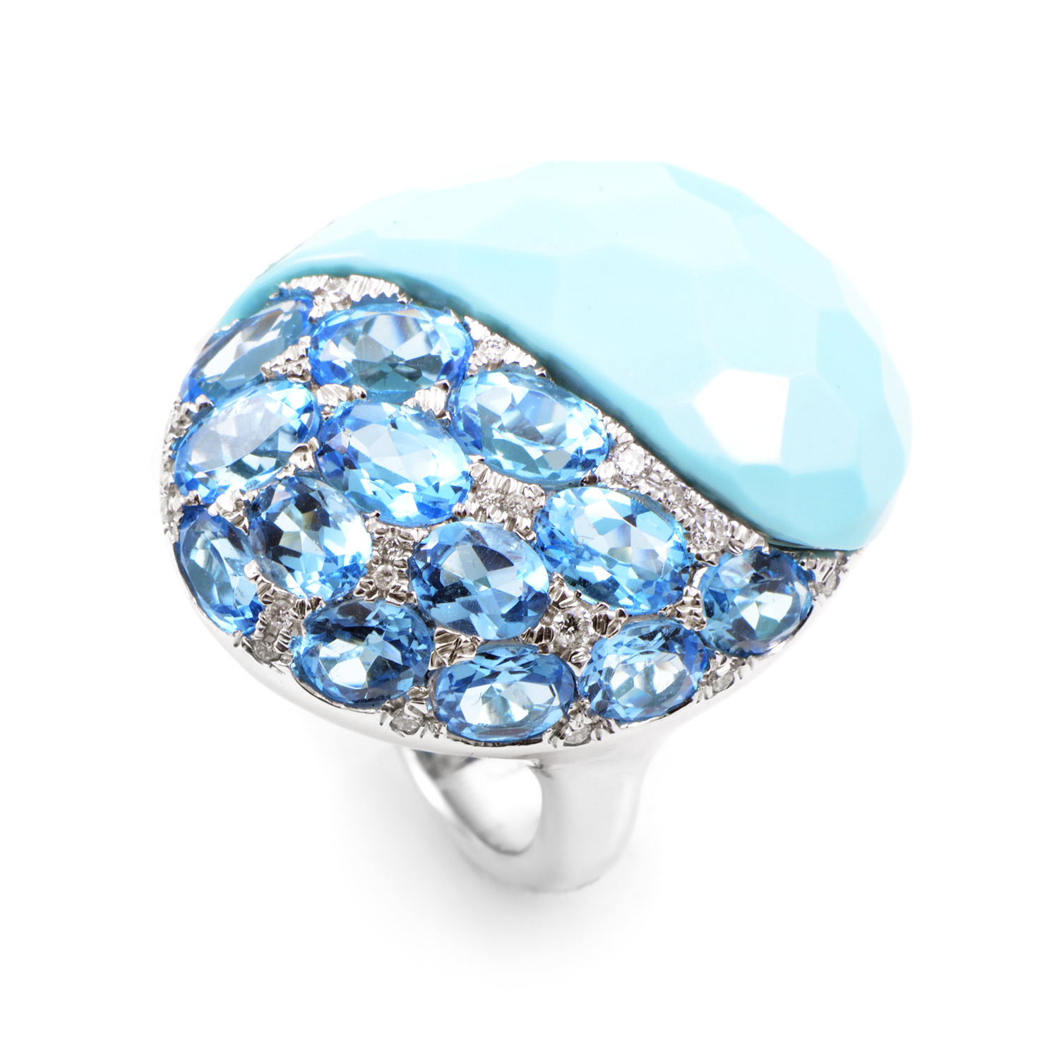 18K White Gold Blue Gemstone Ring RC8-10880WBTTQ