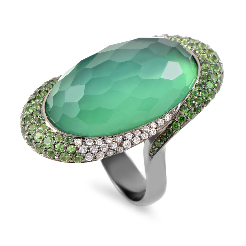 18K White Gold Diamond & Green Gemstone Cocktail Ring