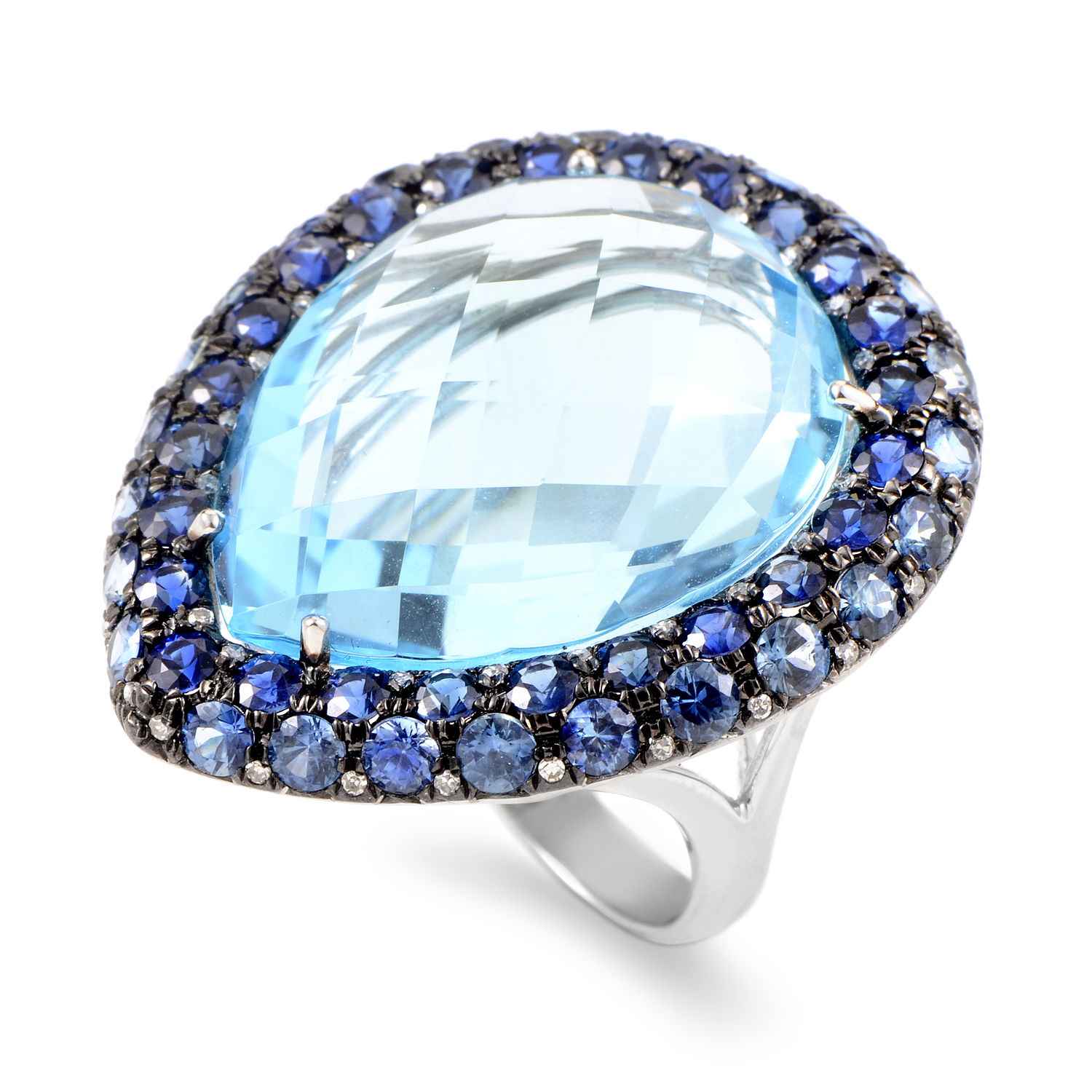 Women's 18K White Gold Diamond & Blue Gemstone Ring