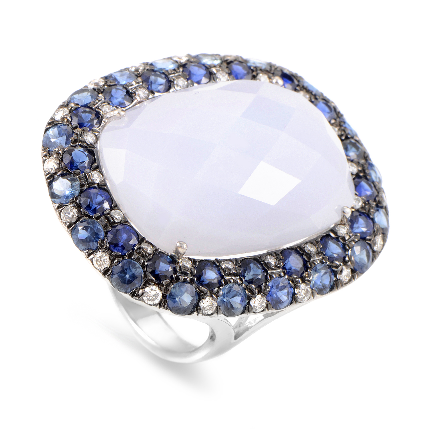 18K White Gold Multi-Gemstone Cocktail Ring RC8-11068WSA