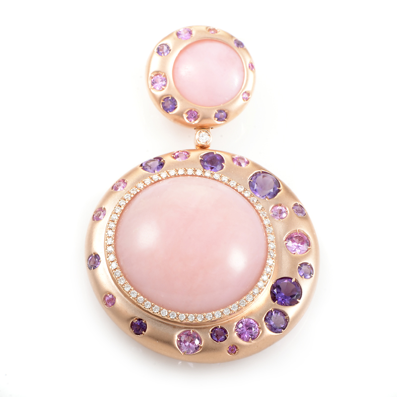 Brushed 18K Rose Gold Pink Gemstone & Diamond Pendant